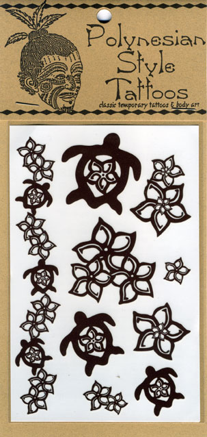 T15 Plumeria Honu Temporary Tattoos Qty: Price: $4.00